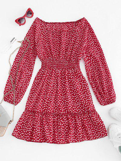 Ditsy Floral Lantern Sleeve Flounce Dress - Red M