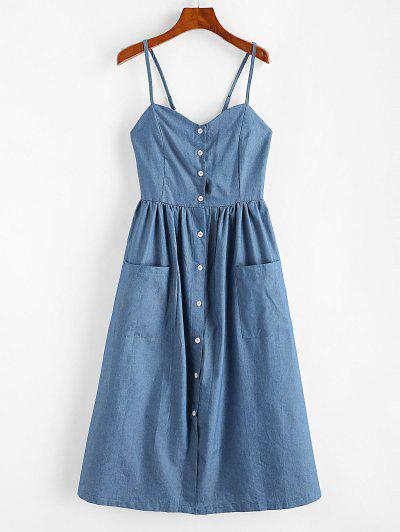 Button Up Chambray Smocked Back Cami Dress - Silk Blue S