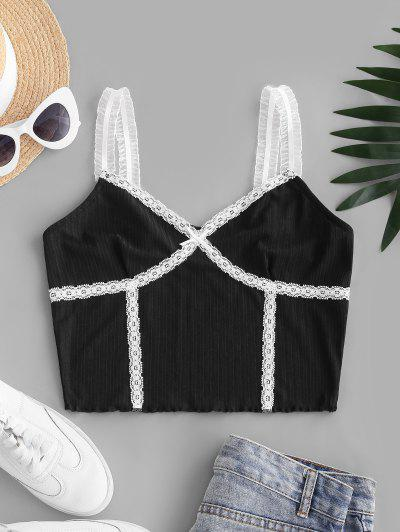Ribbed Frilled Lace Trim Crop Top - Black S