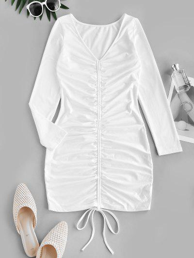 Cinched Front V Neck Long Sleeve Dress - White L