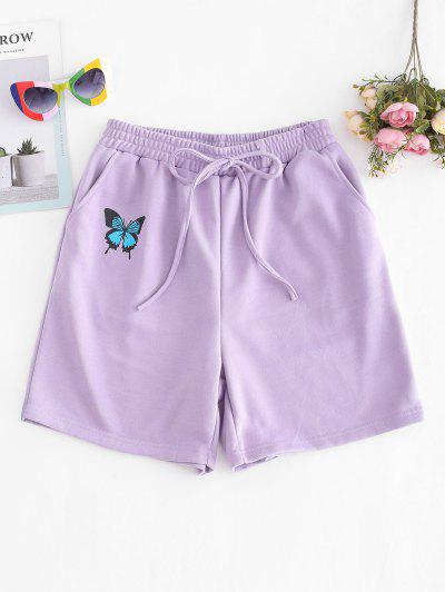 French Terry Butterfly Graphic Pocket Sweat Shorts - Purple S