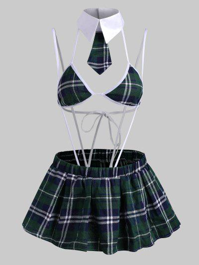 Plaid Binding Suspender Lingerie Bralette Set With Skirt - Green M
