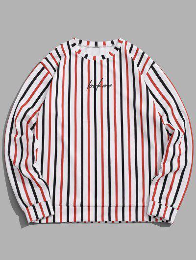 Sweat-shirt Rayé Contrasté Slogan Imprimé - Blanc Xl