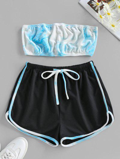ZAFUL Tie Dye Strapless Velvet Drawstring Shorts Set - Light Blue S