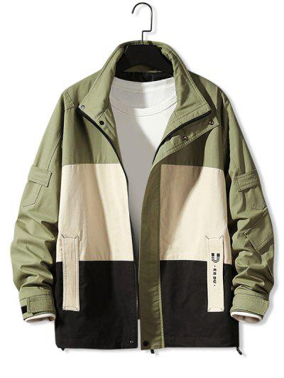 Colorblock Panel Letter Print Jacket - Army Green Xl