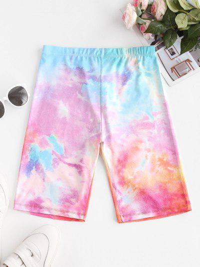 High Waisted Multicolored Tie Dye Biker Shorts - Multi-a L