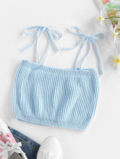 ZAFUL Tie Shoulder Knitted Cami Crop Tank Top - Light Blue Xl
