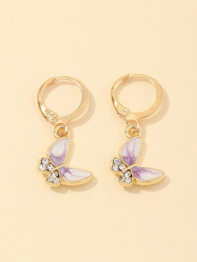 Butterfly Rhinestone Small Hoop Earrings - Mauve