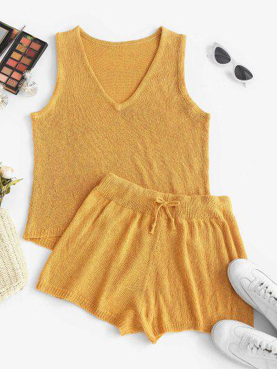 High Low Tank Top And Mini Shorts Knitwear Set - Yellow S