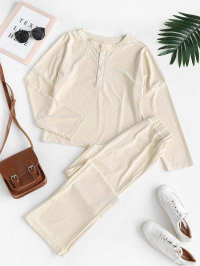 Ribbed Henley T-shirt And Wide Leg Pants - Warm White S