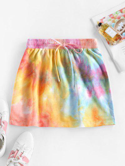 ZAFUL Drawstring Tie Dye A Line Skirt - Multi-a Xl