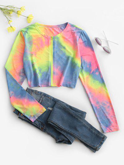 Tie Dye Zip Up Crop Jacket - Multi L
