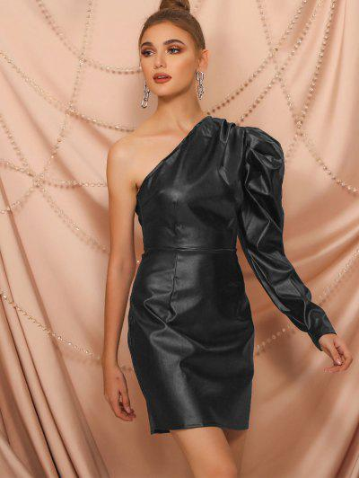 One Shoulder Faux Leather Gigot Sleeve Sheath Dress - Black S