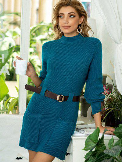 Buckle Belted Dual Pocket Sweater Dress - Deep Blue
