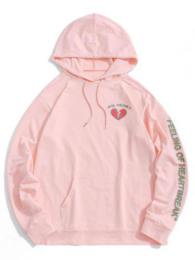Heart Graphic Print Kangaroo Pocket Hoodie - Light Pink 2xl