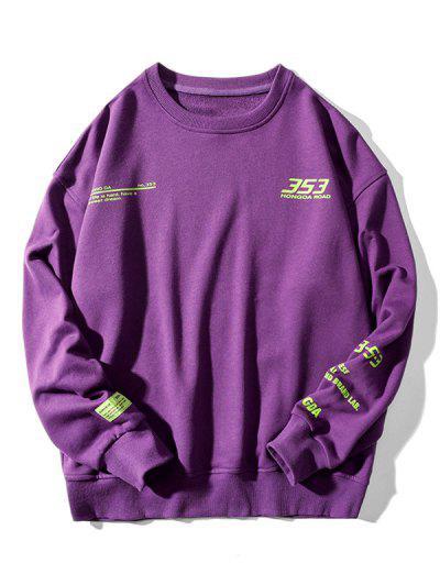 Letter Graphic Pattern Drop Shoulder Sweatshirt - Purple 3xl