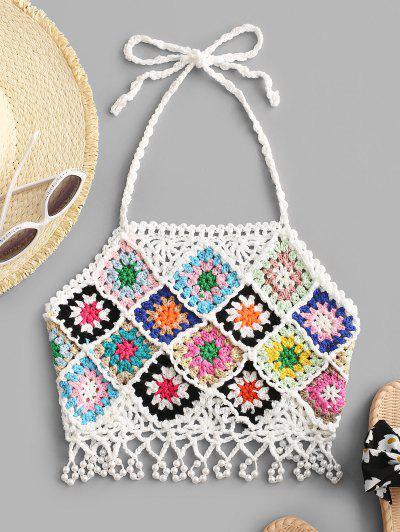 Haut Court Au Crochet Noué Au Dos Avec Fausse Perle - Blanc L