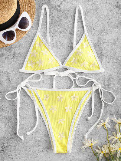ZAFUL Ribbed Flower Applique String Ringer Bikini Swimwear - Yellow M
