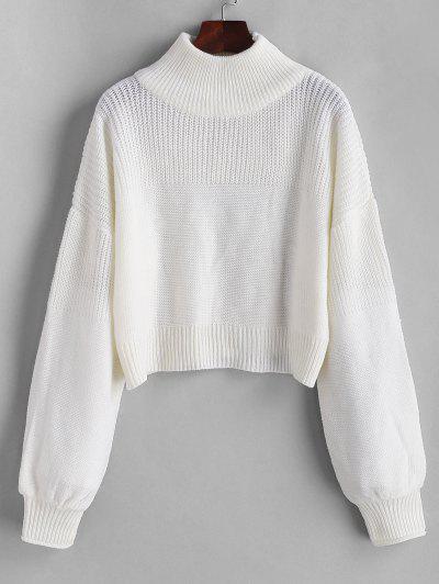 Plain Drop Shoulder Mock Neck Sweater - White L