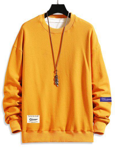 Letter Text Drop Shoulder Crew Neck Sweatshirt - Bee Yellow 2xl