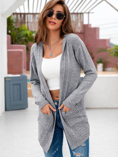 Hooded Cable Knit Dual Pocket Cardigan - Gray