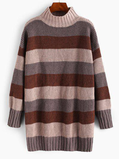Mock Neck Colorblock Stripes Oversized Sweater - Deep Coffee
