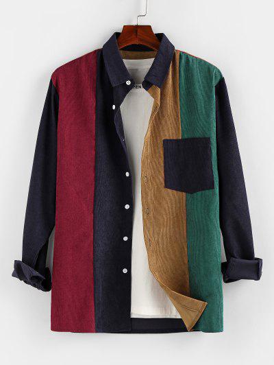 Camisa De Veludo De Algodão Com Contraste - Multi 2xl