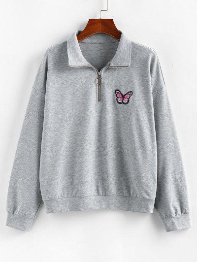 ZAFUL Drop Shoulder Butterfly Embroidered Half Zip Sweatshirt - Ash Gray S