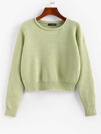 ZAFUL Drop Shoulder Roll Trim Pullover Sweater - Light Green L