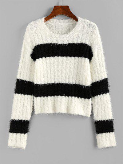 ZAFUL Two Tone Bicolor Cable Knit Fuzzy Sweater - White S
