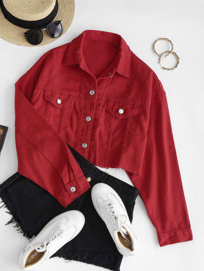 Pocket Raw Cut Drop Shoulder Ripped Jean Jacket - Red M