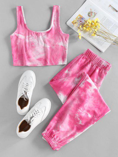 ZAFUL U Neck Tie Dye Two Piece Set - Light Pink S