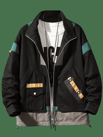 Colorblock Panel Pocket Cargo Jacket