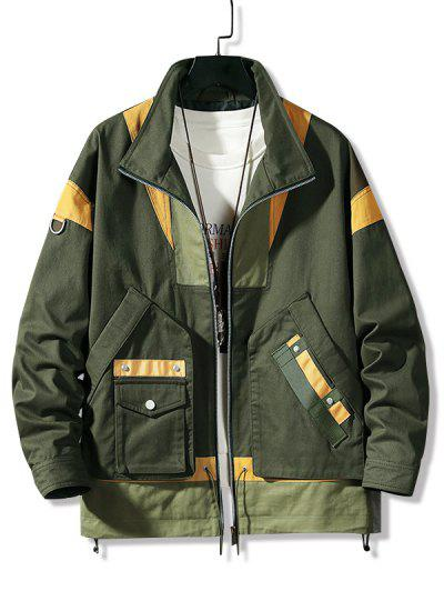 Colorblock Panel Pocket Cargo Jacket - Army Green L