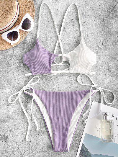 ZAFUL Ribbed Colorblock Cutout String Bikini Swimwear - Light Purple M