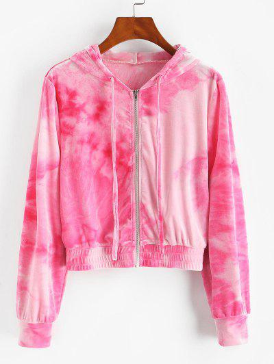 ZAFUL Tie Dye Velvet Hooded Jacket - Light Pink M