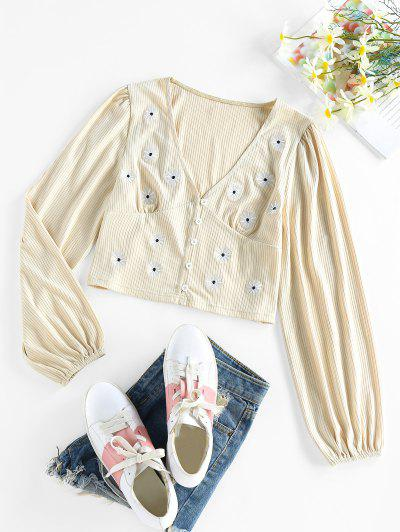 ZAFUL Ribbed Flower Embroidered Loop Button Cardigan - Light Coffee S