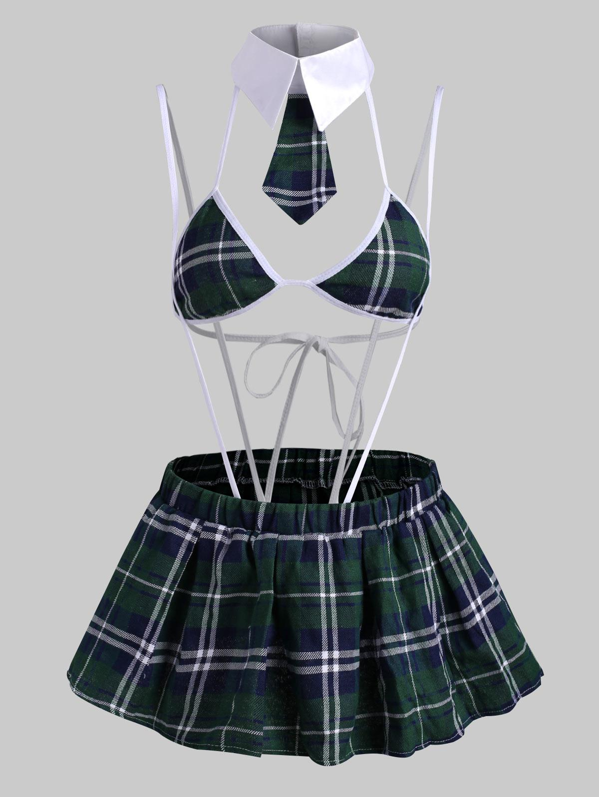 Plaid Binding Suspender Lingerie Bralette Set with Skirt