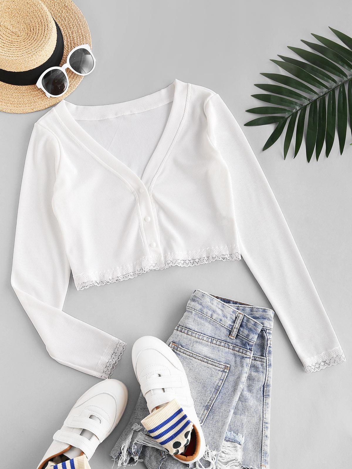 Button Up Lace Trim Ribbed Tee
