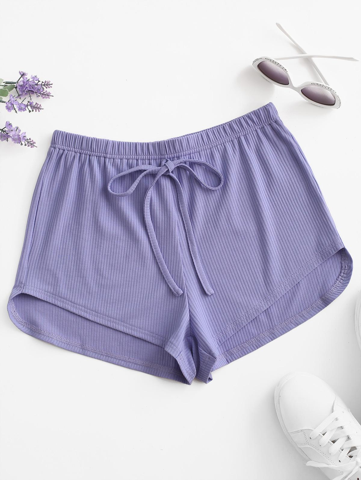 Ribbed Tie Pull On Shorts