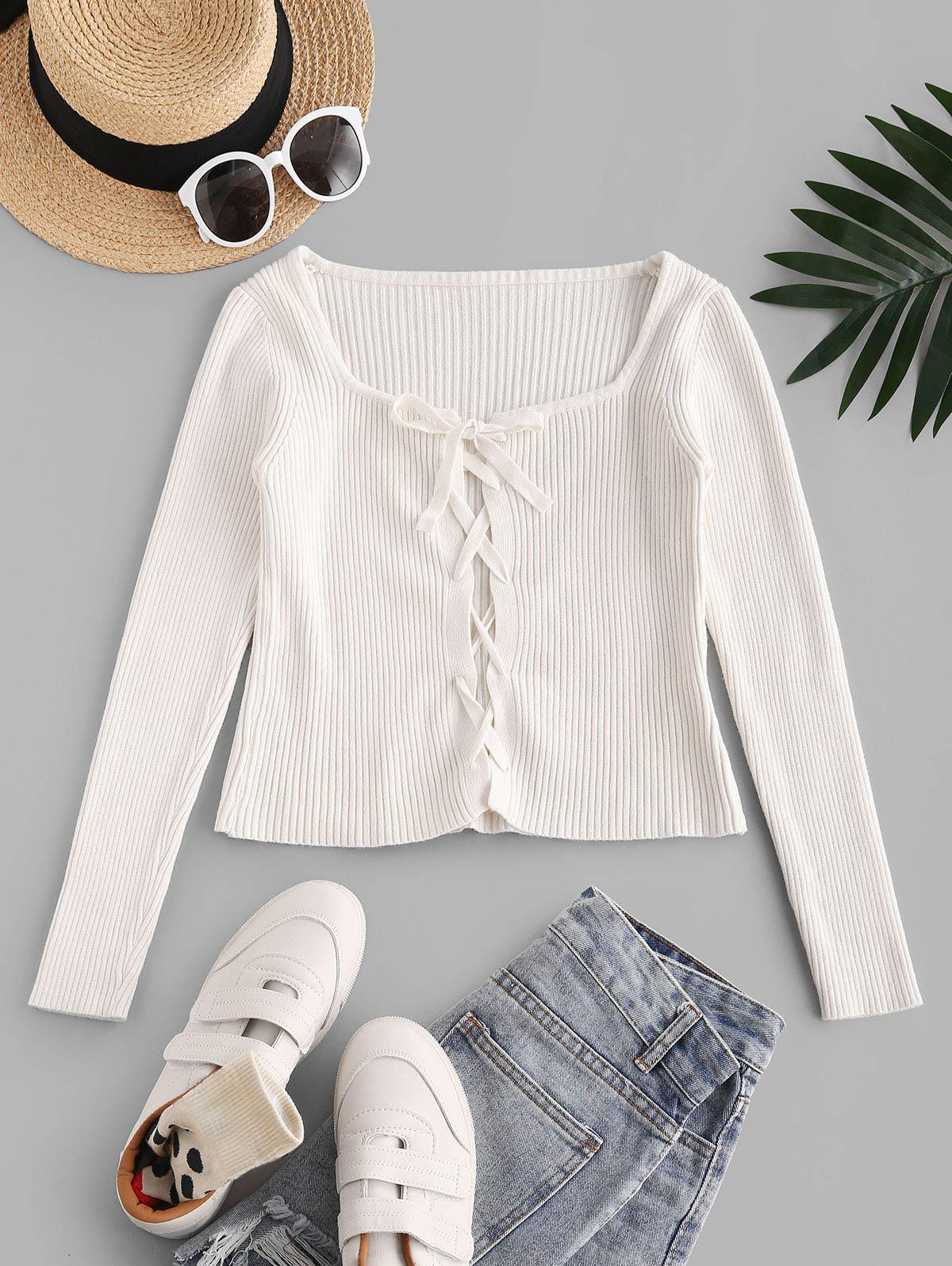 Fitted Lace Up Ribbed Knitwear