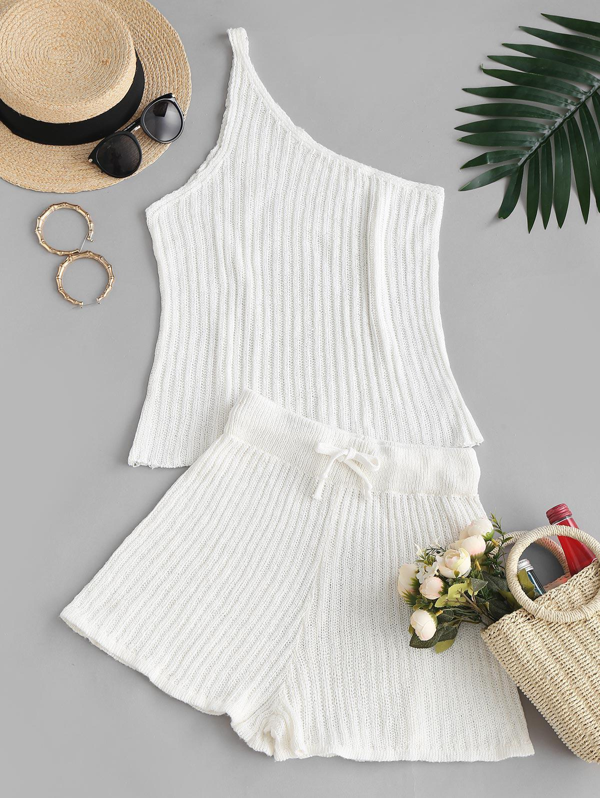 Knitted One Shoulder Two Piece Set