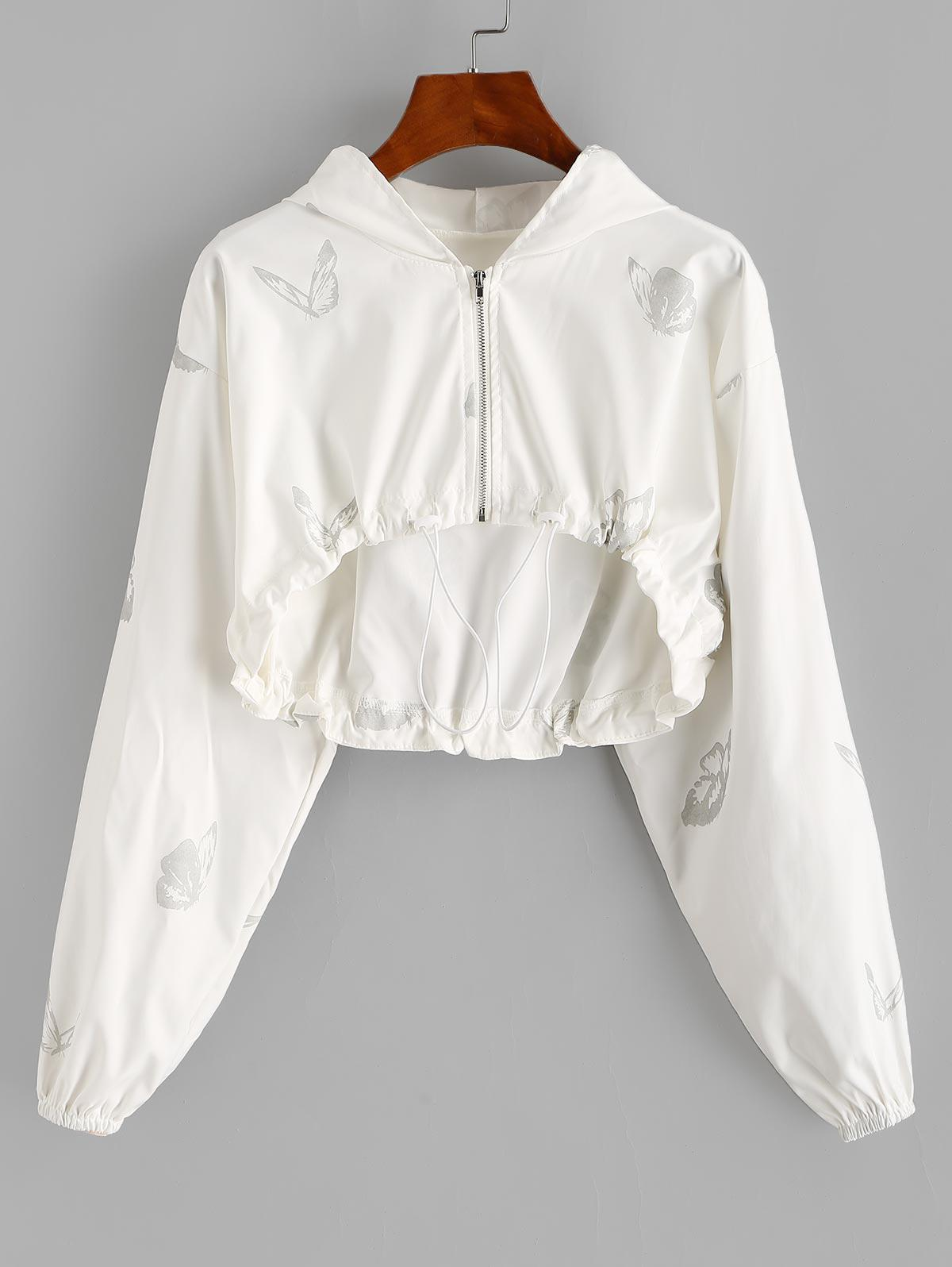 Full Zip Butterfly Toggle Drawstring Cropped Hoodie