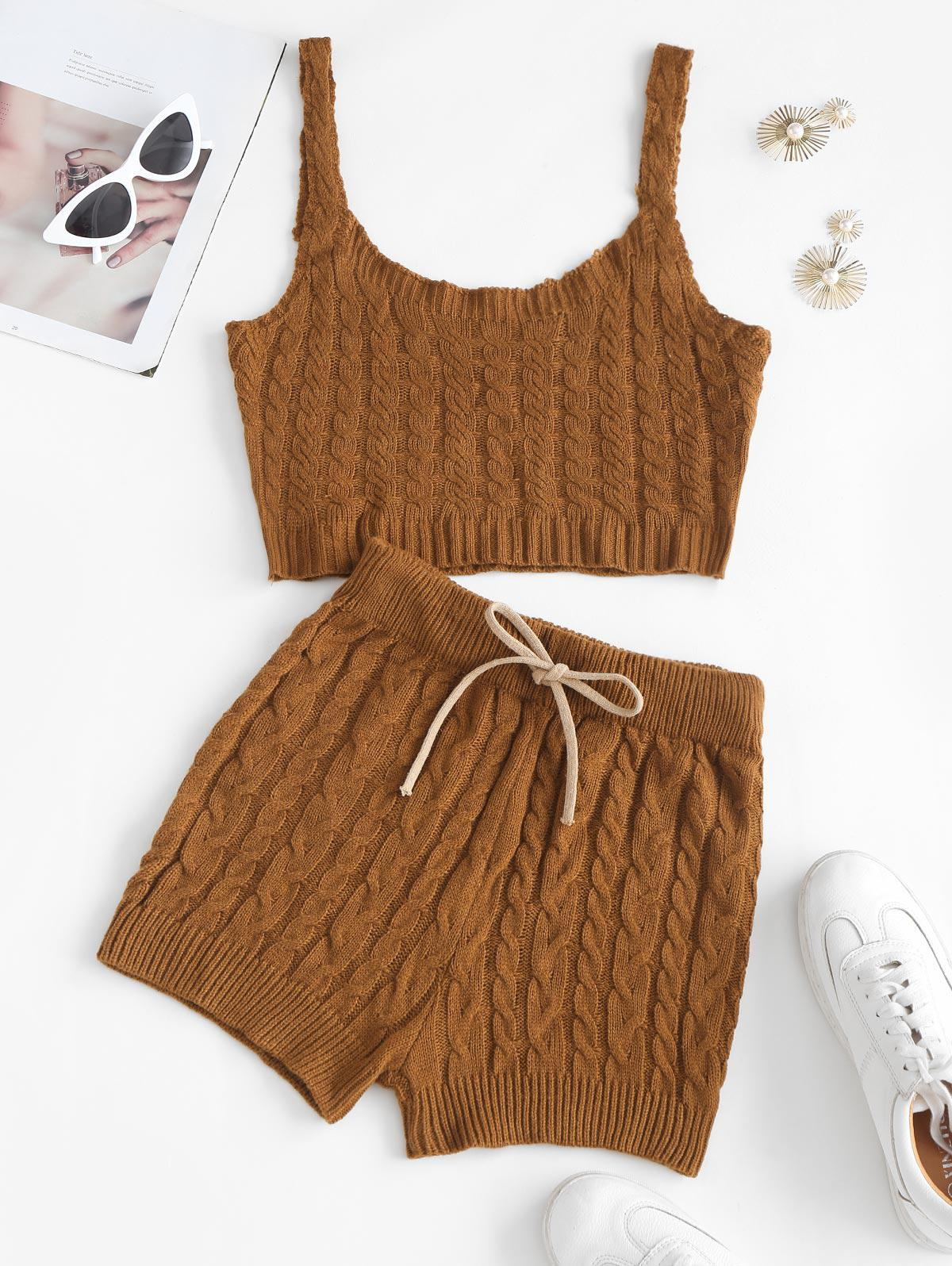 Cropped Cable Knit Sweater Vest Two Piece Set