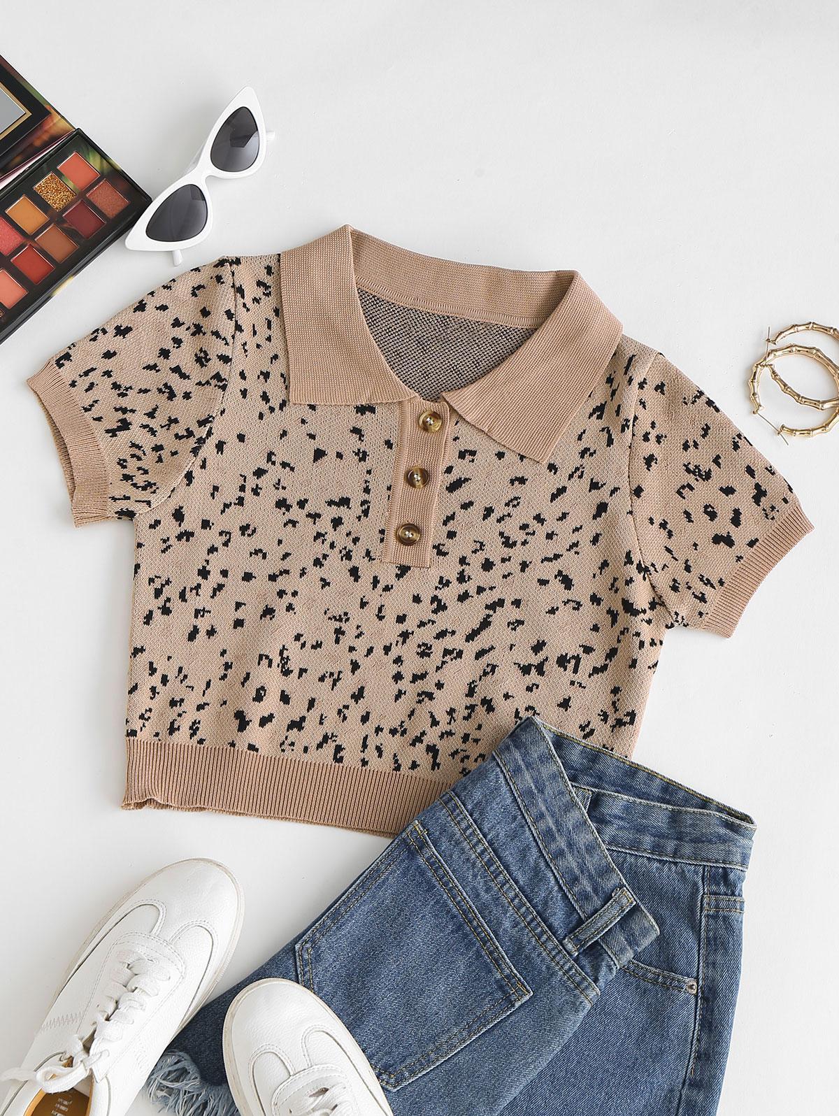 Graphic Crop Slim Knitwear Top