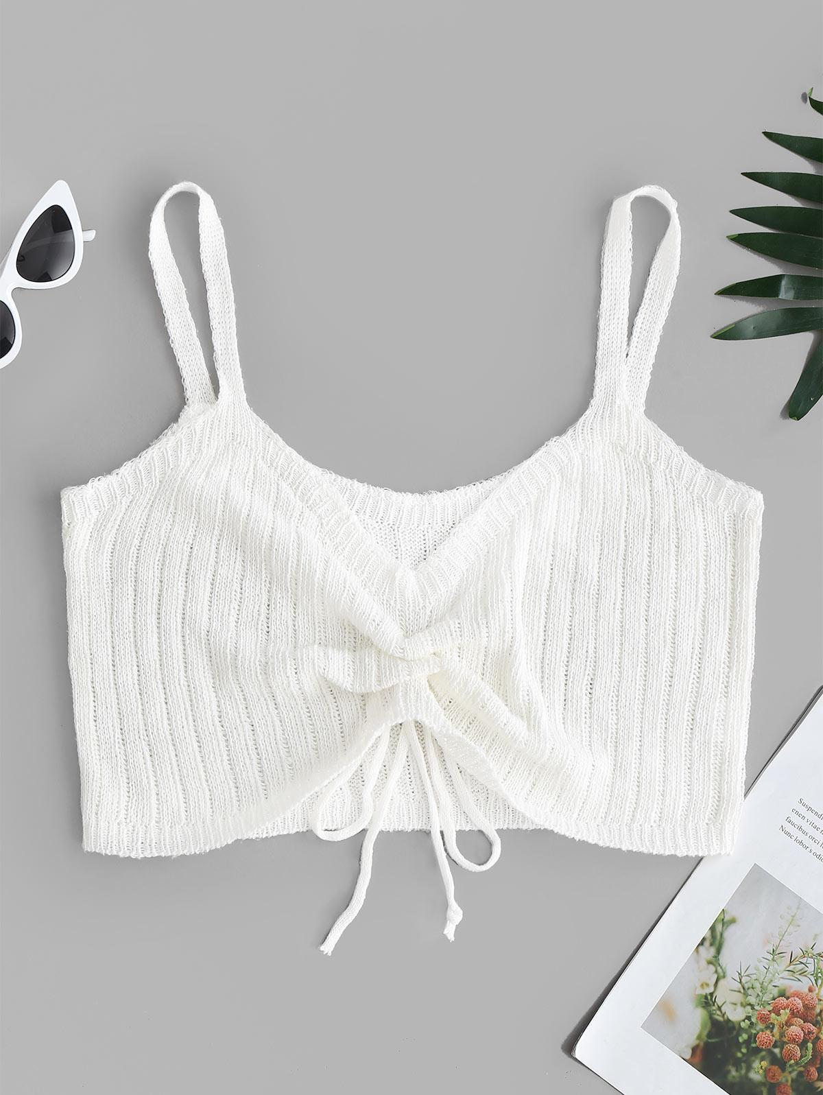 V Neck Cinched Front Knitted Crop Top