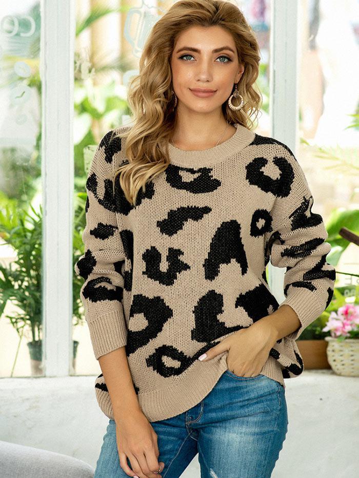 Leopard Drop Shoulder Loose Jumper Sweater