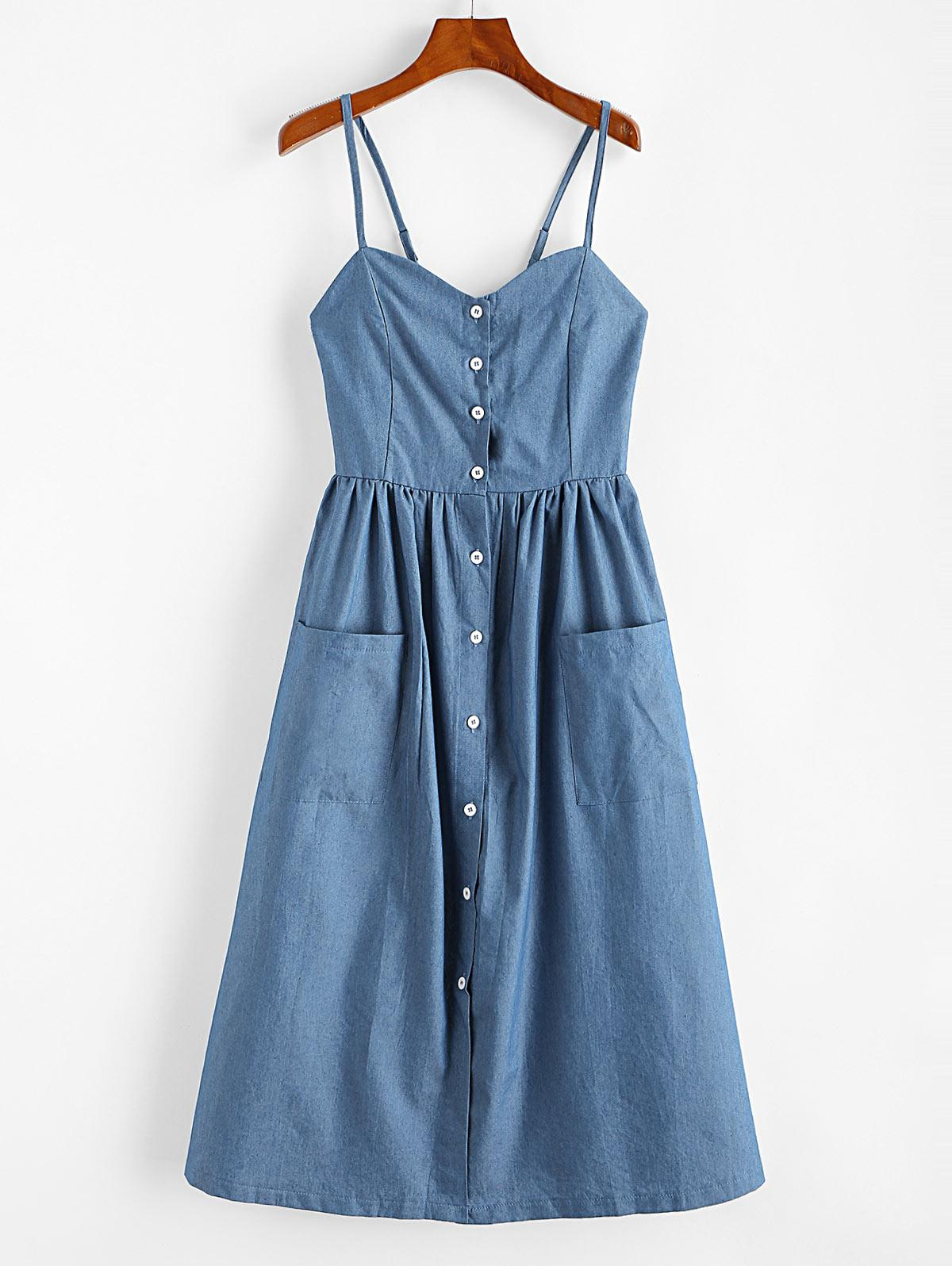 Button Up Chambray Smocked Back Cami Dress