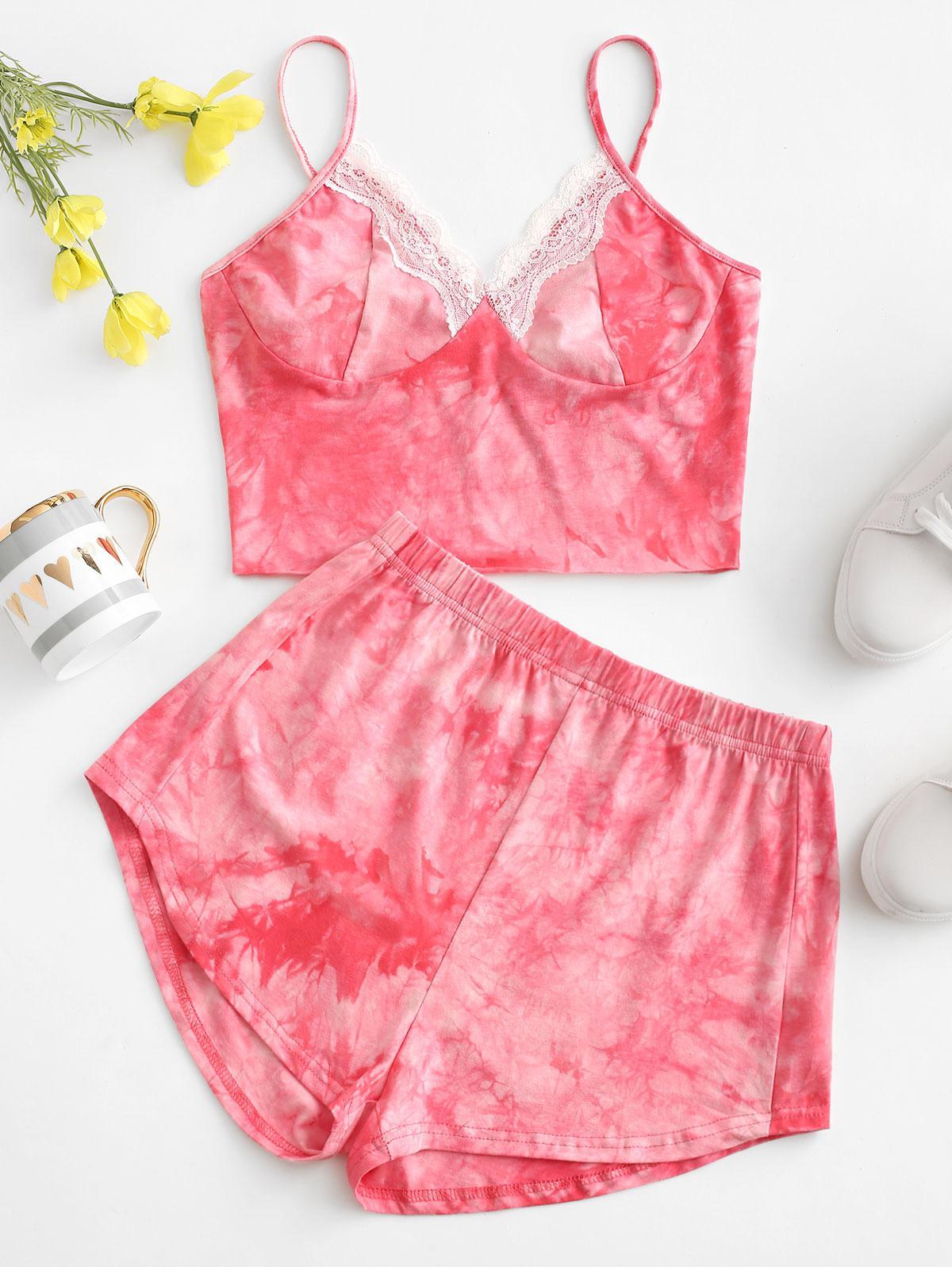 Lace Insert Tie Dye Pajama Shorts Set