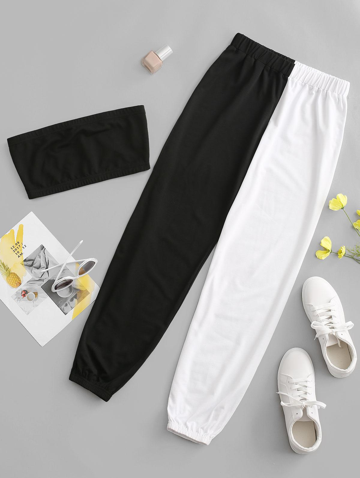 ZAFUL Bicolor High Waisted Strapless Joggers Set